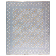 Midcentury Indian Dhurrie Blue, White and Orange Flat-Weave Cotton Rug