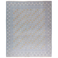 Midcentury Indian Dhurrie Blue, White and Orange Hand Knotted Flat-Weave Rug