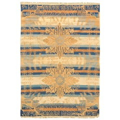 Midcentury Indian Dhurrie Cotton Rug in Blue, Camel and Beige