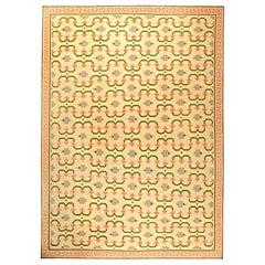 Midcentury Indian Dhurrie Cream, Pink, Olive and Lilac Handmade Cotton Rug