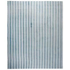 Midcentury Indian Dhurrie Handmade Cotton Rug in Blue Stripes