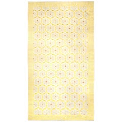 Midcentury Indian Dhurrie Handmade Cotton Rug in Yellow, Beige and White Design