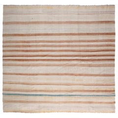 Midcentury Indian Dhurrie Handmade Rug in Cold Blue, Brown and Beige Stripes