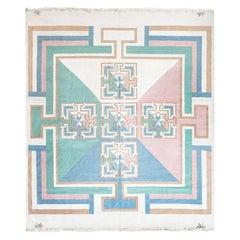 Midcentury Indian Dhurrie in Pastel Tones Handwoven Cotton Rug