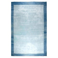 Midcentury Indian Dhurrie Light and Deep Blue Handwoven Cotton Rug