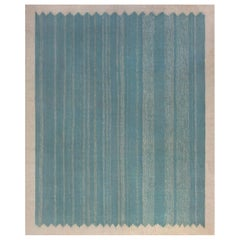 Midcentury Indian Dhurrie Rug in Beige, Blue and Green