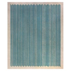 Mid-20th Century Indian Dhurrie Beige, Blue and Green Cotton Rug