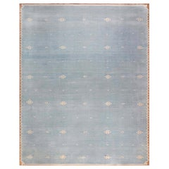 One-of-a-kind Indian Dhurrie Rug in Shades of Beige, Blue, and Brown