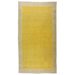 Midcentury Indian Dhurrie Yellow Flat-Woven Cotton Rug