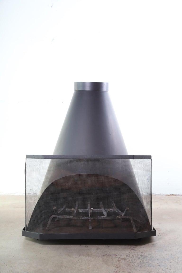 Midcentury Indoor Outdoor Cone Fireplace At 1stdibs