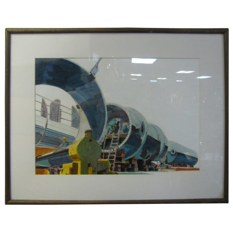 Midcentury Industrial Factory Illustration For Sale