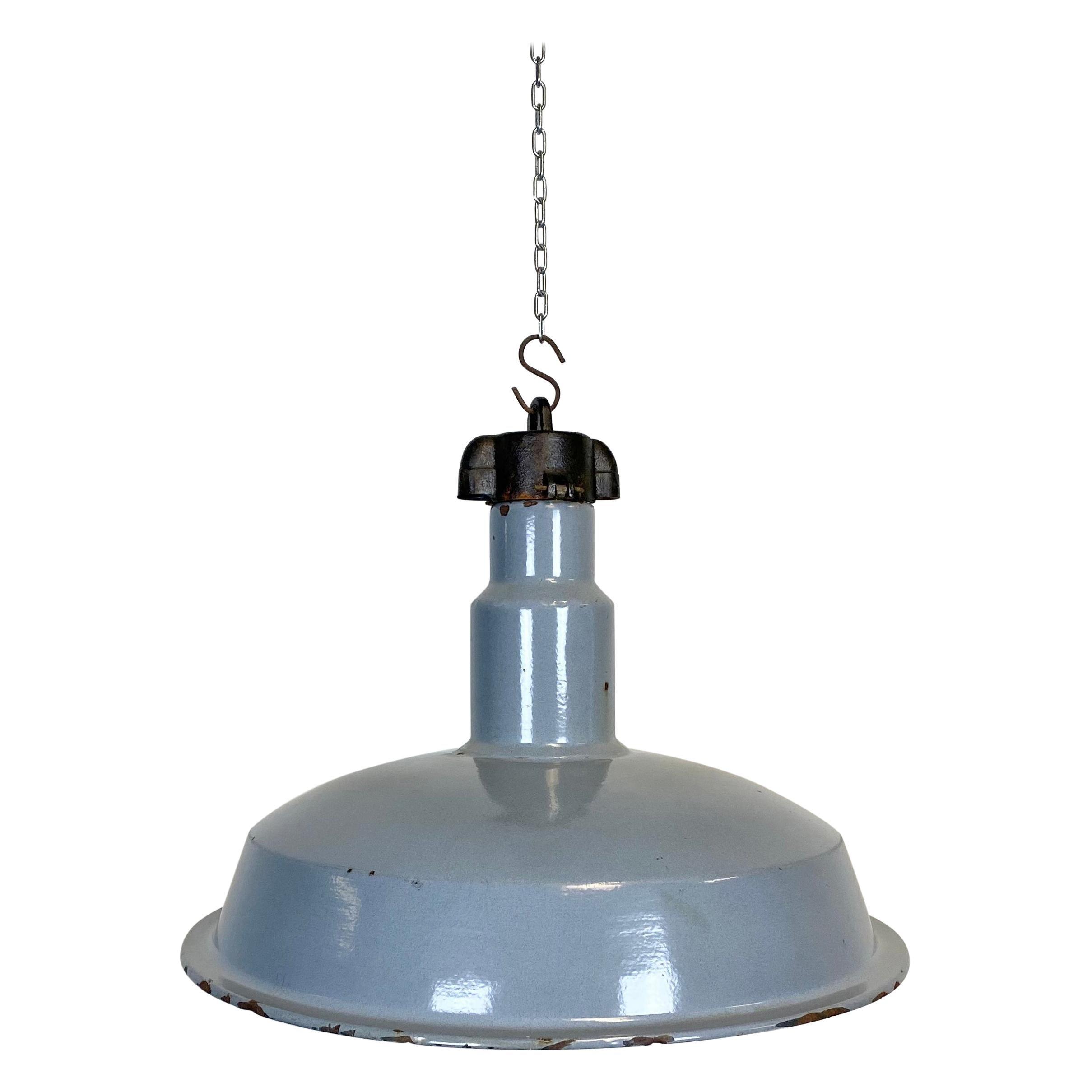 Midcentury Industrial Grey Enameled Factory Lamp, 1950s