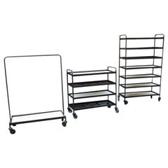 Midcentury Industrial Iron Wheeled Trolleys, 24 Piece Different Sizes Available