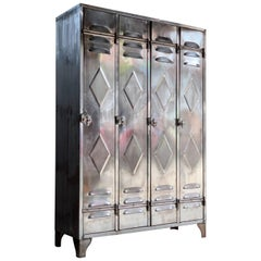 Midcentury Industrial Polished Steel School Lockers Cabinets, circa 1940s