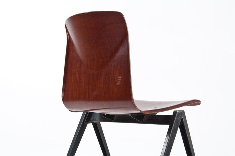 Mid-Century Modern Midcentury Industrial School Chair in Brown Plywood S22 by Galvanitas, 1960s For Sale