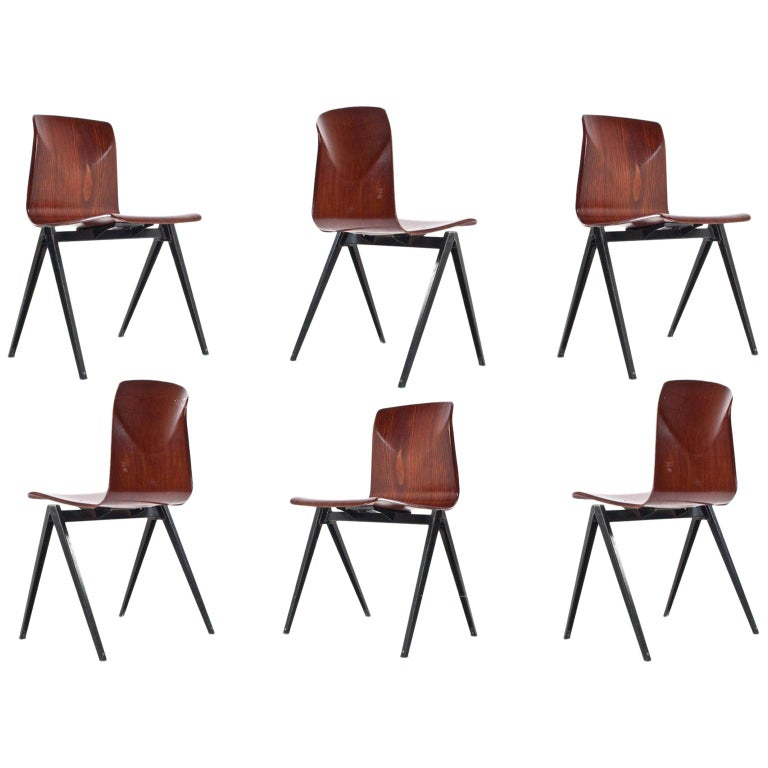 Midcentury Industrial School Chair in Brown Plywood S22 by Galvanitas, 1960s For Sale