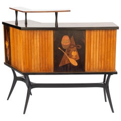 Mid-Century Inlaid Bar