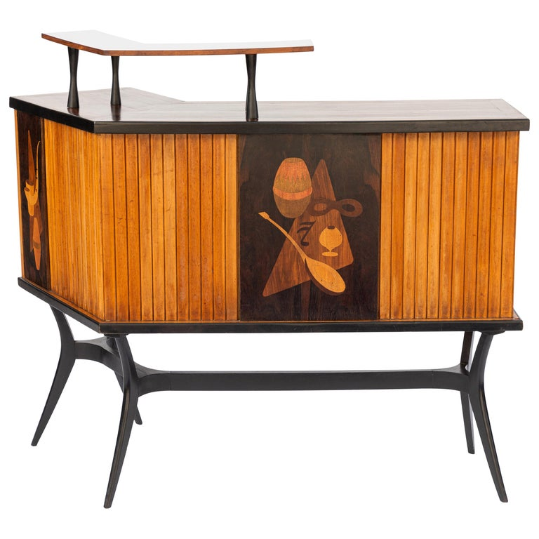 Mid-Century Inlaid Bar For Sale