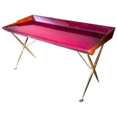 Midcentury Inspired Lacquered Wood Patinated Brass European Writing Desk