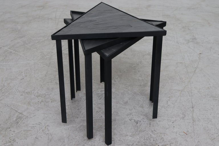 Midcentury inspired triangle slate and metal tables