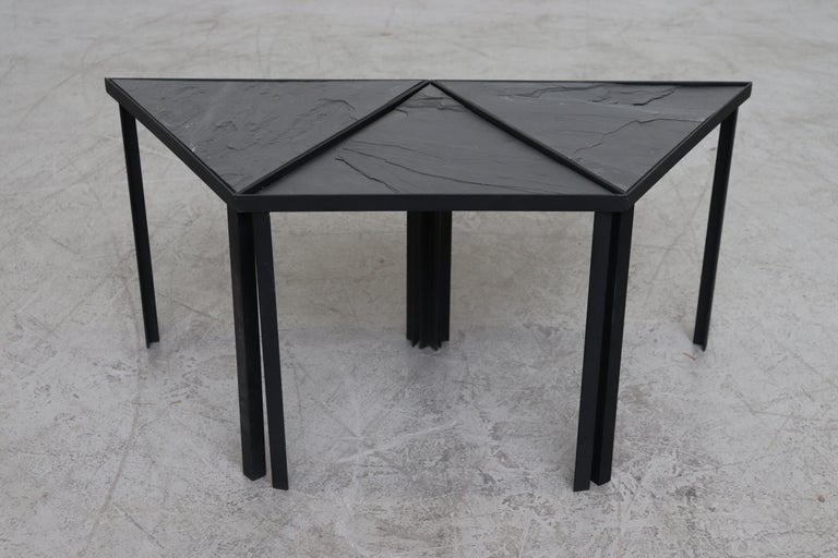 Mid-Century Modern Midcentury Inspired Slate Stacking Tables For Sale