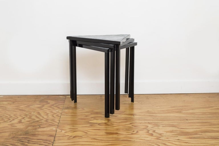 American Midcentury Inspired Slate Stacking Tables For Sale