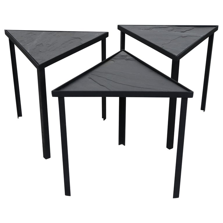 Midcentury Inspired Slate Stacking Tables For Sale
