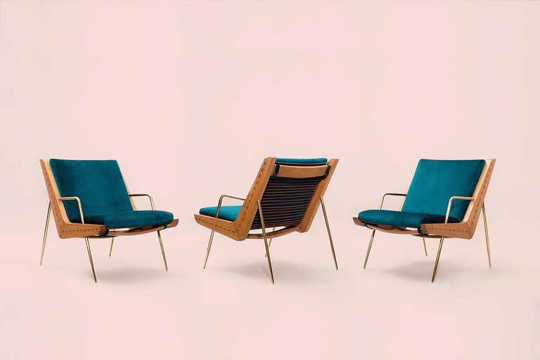 Contemporary Midcentury Inspired Walt Lounge Chair and Ottoman For Sale