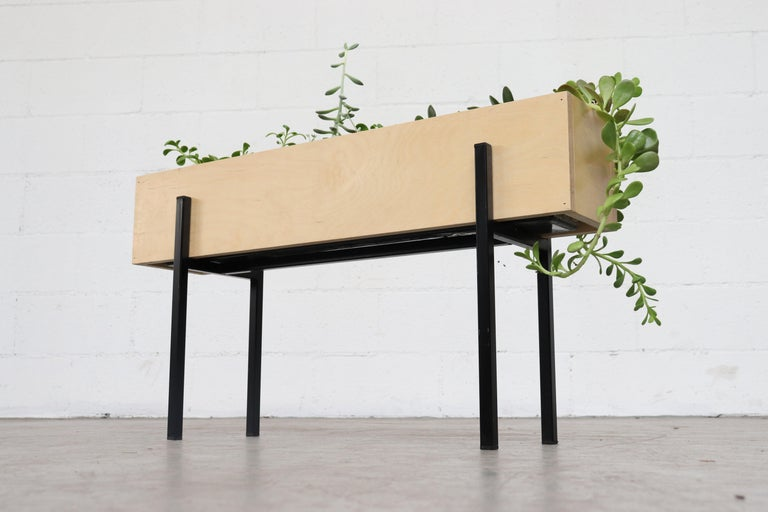 Mid-Century Modern Midcentury Inspired Wood Box Planter For Sale