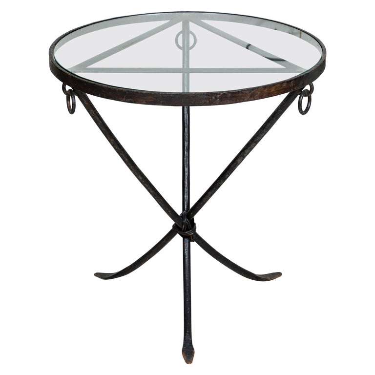 Midcentury Iron and Glass Round Table For Sale