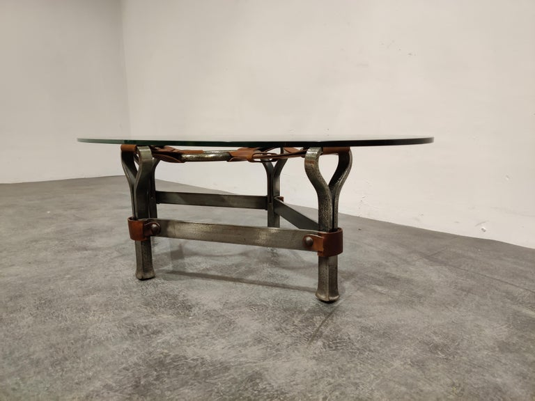 Mid-Century Modern Midcentury Iron and Leather Coffee Table by Jacques Adnet, 1960s For Sale