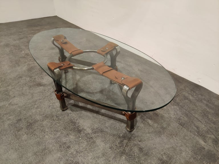 French Midcentury Iron and Leather Coffee Table by Jacques Adnet, 1960s For Sale