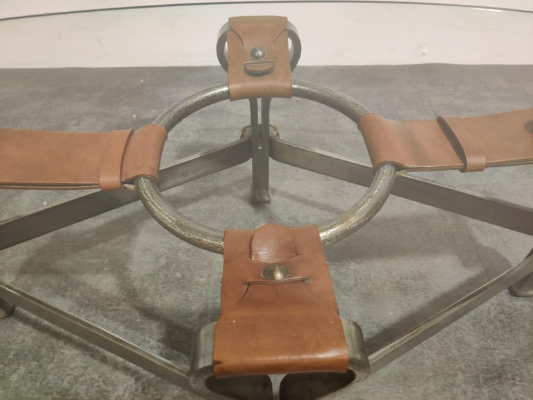Mid-20th Century Midcentury Iron and Leather Coffee Table by Jacques Adnet, 1960s For Sale
