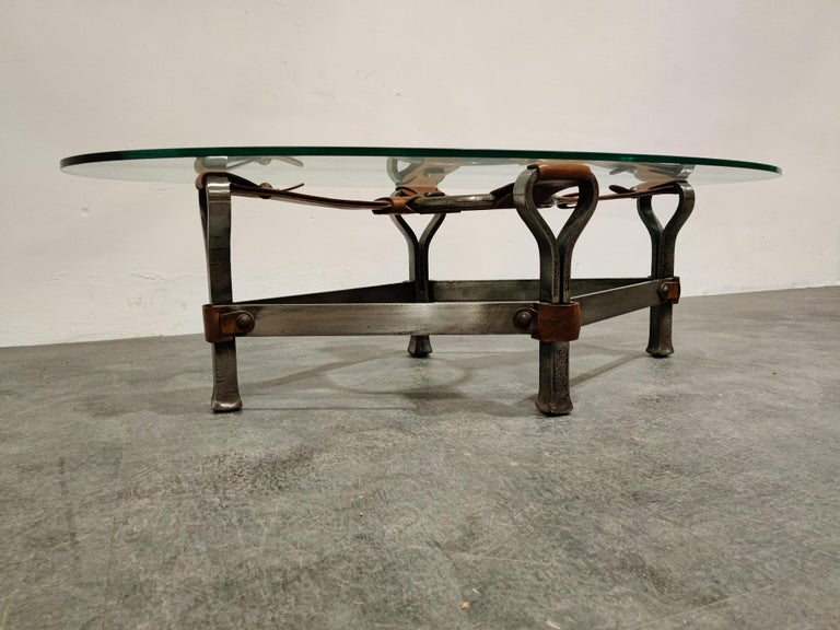 Steel Midcentury Iron and Leather Coffee Table by Jacques Adnet, 1960s For Sale