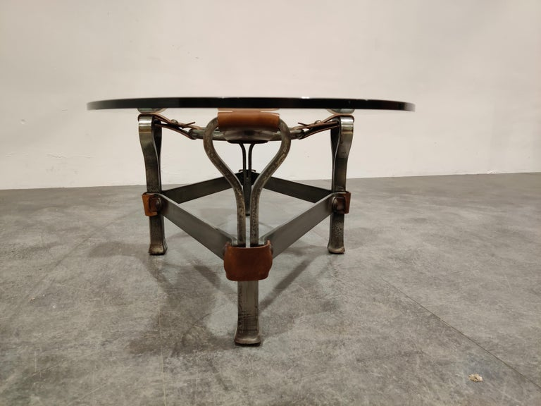 Midcentury Iron and Leather Coffee Table by Jacques Adnet, 1960s For Sale 1