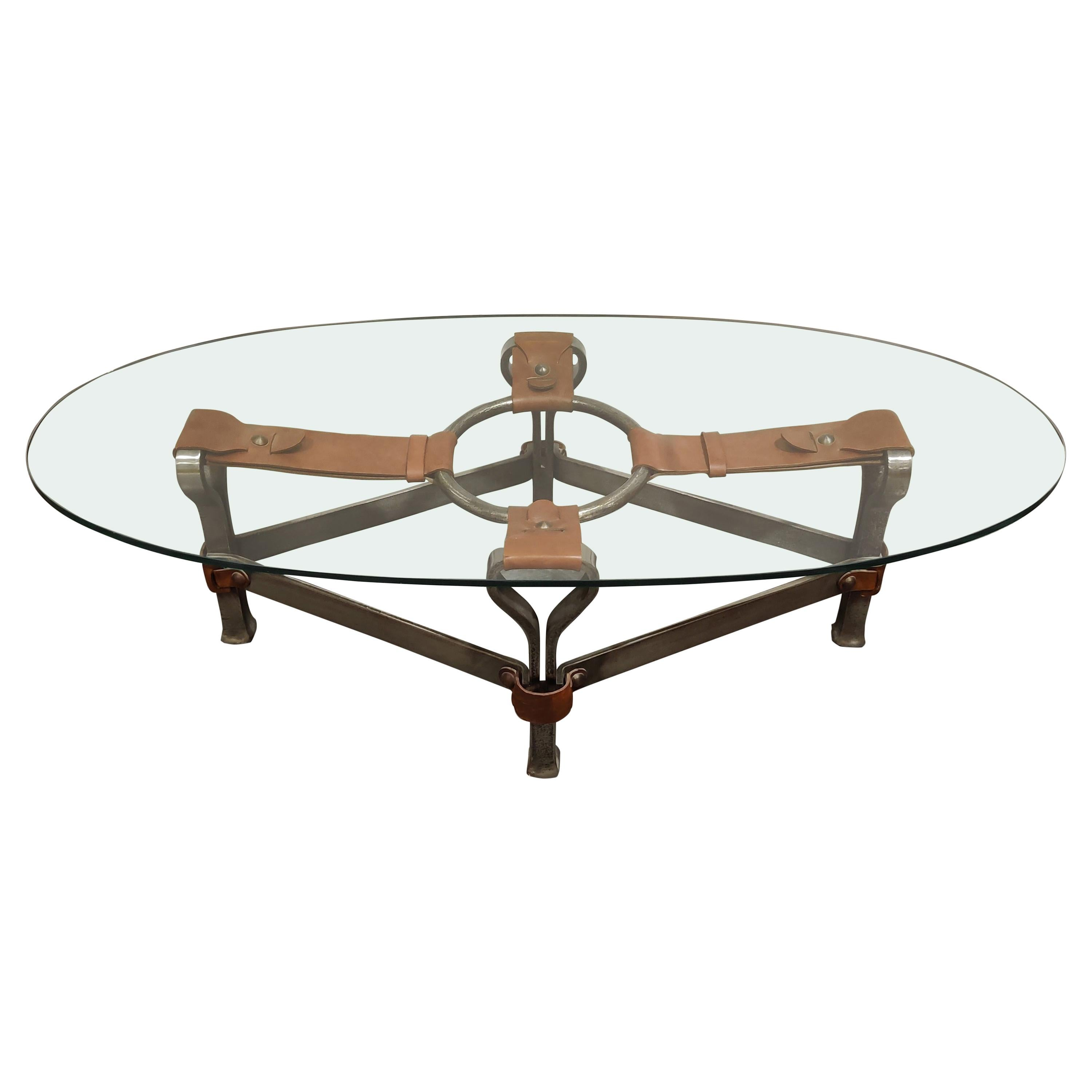 Midcentury Iron and Leather Coffee Table by Jacques Adnet, 1960s