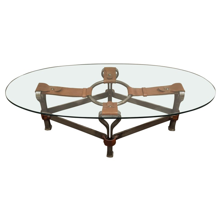 Midcentury Iron and Leather Coffee Table by Jacques Adnet, 1960s For Sale