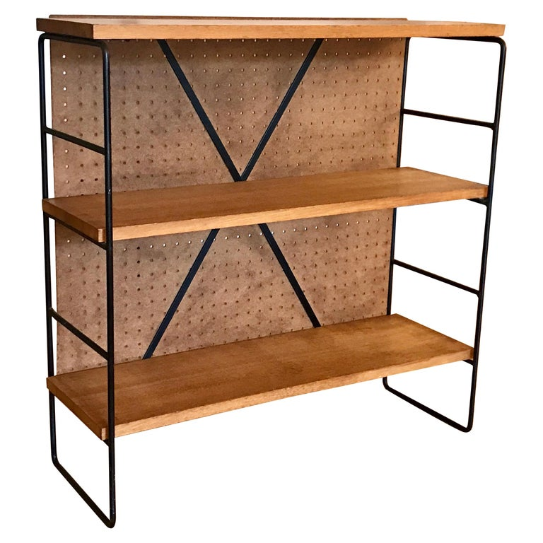Midcentury Iron and Wood Shelf System For Sale
