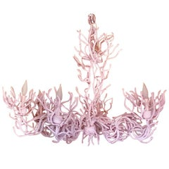 Midcentury Iron Faux Coral Chandelier