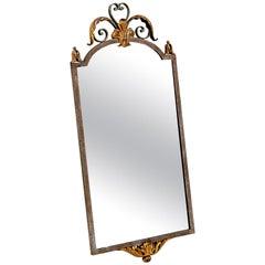 Midcentury Iron Gilt Metal French Mirror