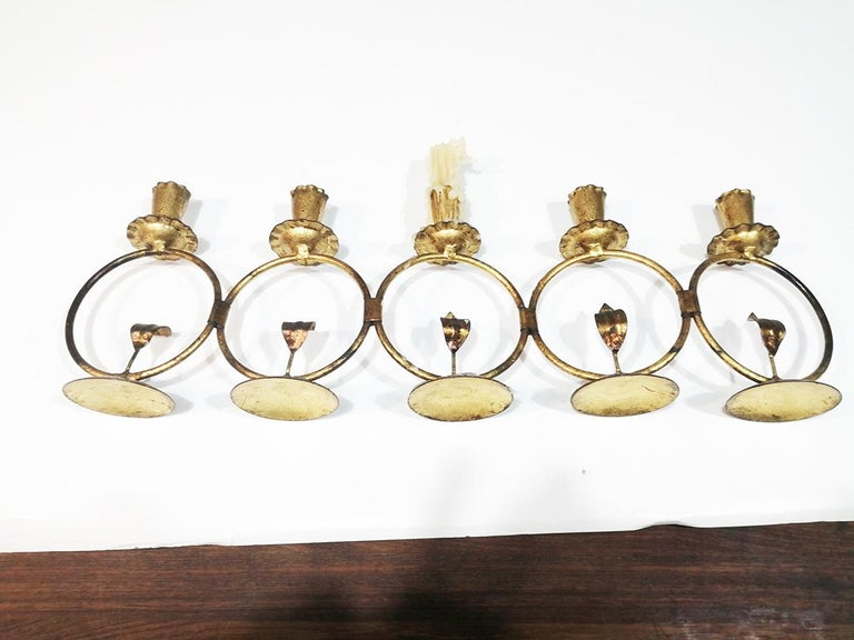 Midcentury Iron Golden Candleholder Transformable 50s For Sale 4