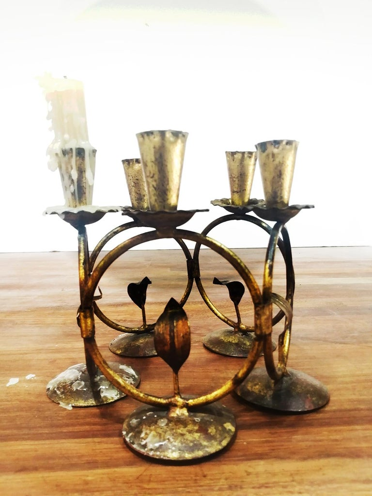 Midcentury Iron Golden Candleholder Transformable 50s For Sale 6