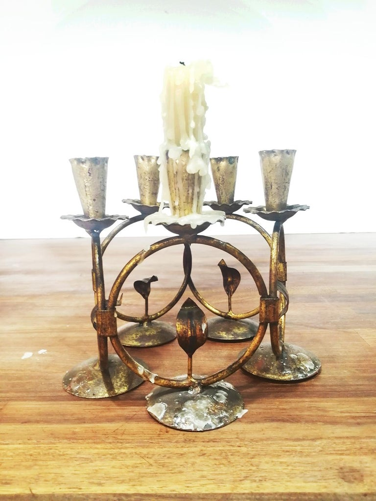 Midcentury Iron Golden Candleholder Transformable 50s For Sale 7