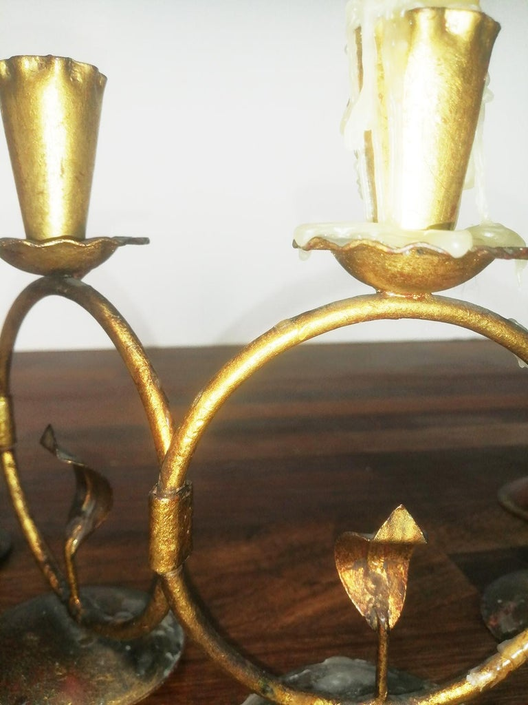 Spanish Midcentury Iron Golden Candleholder Transformable 50s For Sale