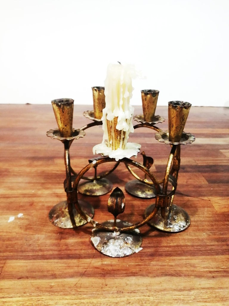 Midcentury Iron Golden Candleholder Transformable 50s In Good Condition For Sale In Mombuey, Zamora