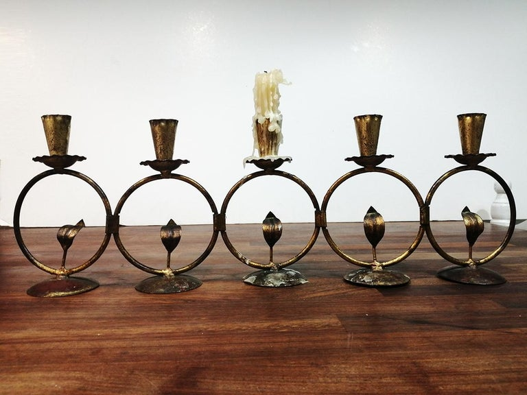 20th Century Midcentury Iron Golden Candleholder Transformable 50s For Sale