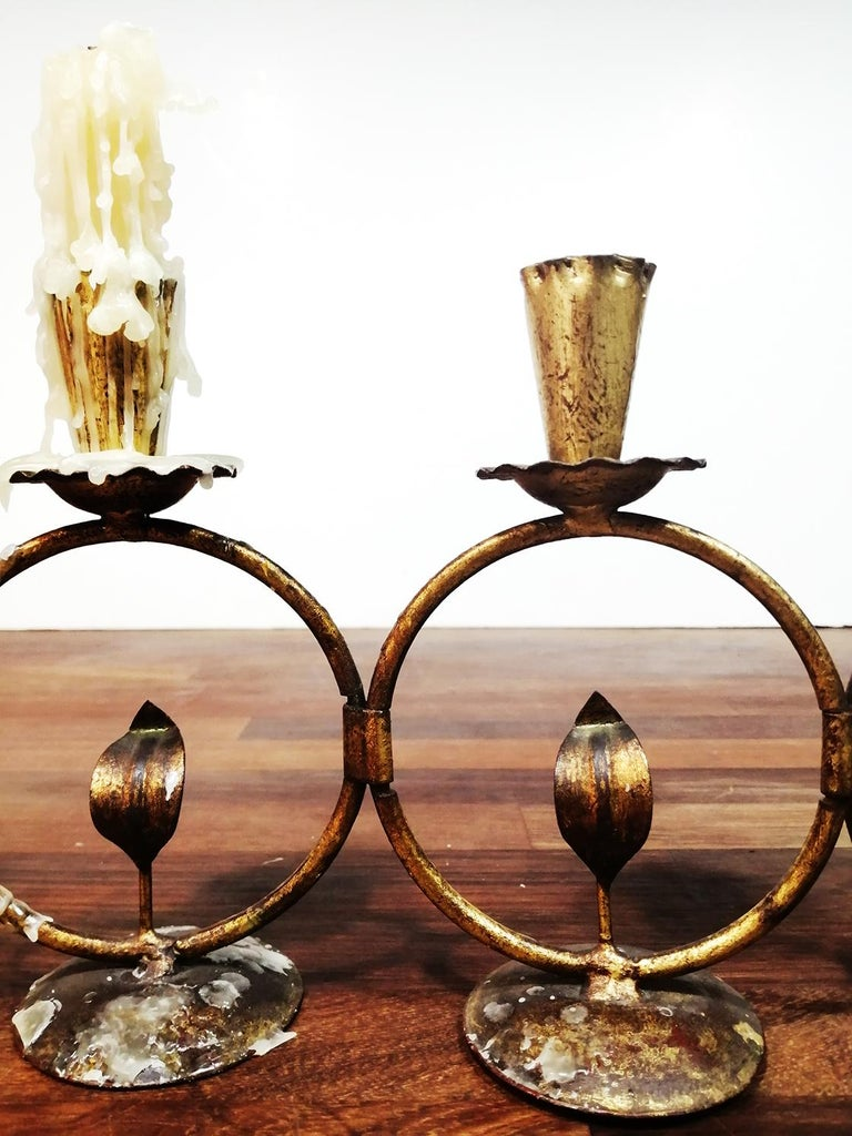 Midcentury Iron Golden Candleholder Transformable 50s For Sale 1