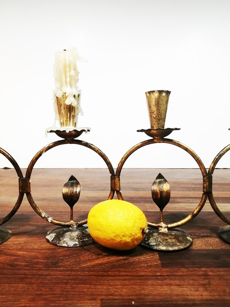 Midcentury Iron Golden Candleholder Transformable 50s For Sale 2