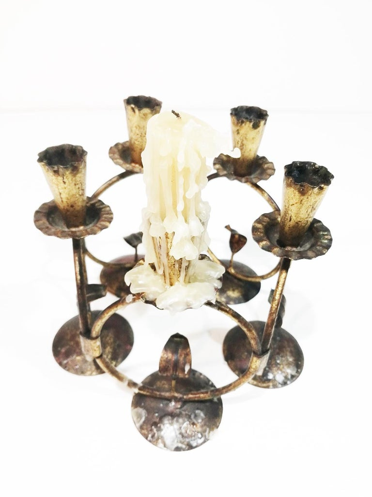 Midcentury Iron Golden Candleholder Transformable 50s For Sale 3