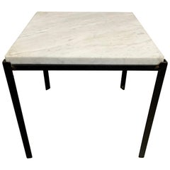 Midcentury Iron Side Table with Italian Marble